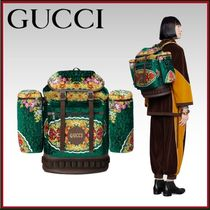 GUCCI Flower Patterns Unisex Leather Backpacks