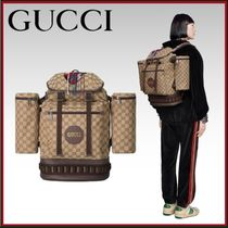 GUCCI Monogram Unisex Blended Fabrics Leather With Jewels
