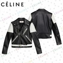 CELINE Leather Long Biker Jackets