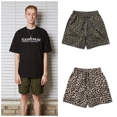 Leopard Patterns Unisex Street Style Cotton Shorts