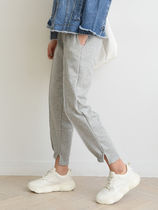 Casual Style Unisex Plain Cotton Long Cropped & Capris Pants