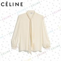 CELINE Puffed Sleeves Plain Medium Elegant Style Shirts & Blouses