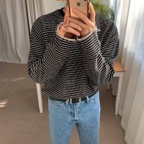 ASCLO Crew Neck Pullovers Stripes Unisex Street Style Long Sleeves