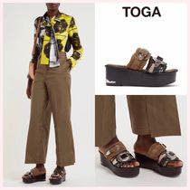 TOGA Open Toe Platform Casual Style Suede Studded Plain