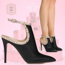 VALENTINO Blended Fabrics Studded Plain Leather Pin Heels