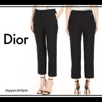 Christian Dior Wool Plain Medium Elegant Style Cropped & Capris Pants
