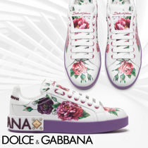 Dolce & Gabbana Flower Patterns Casual Style Studded Leather