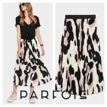 PARFOIS Pleated Skirts Long Maxi Skirts