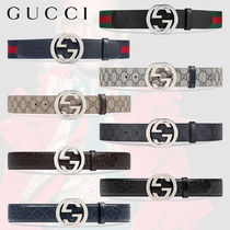 GUCCI Gucci Signature Leather Monogram Blended Fabrics Street Style Plain Leather Belts