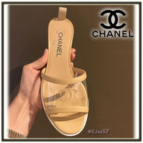 CHANEL Open Toe Plain Block Heels PVC Clothing Elegant Style