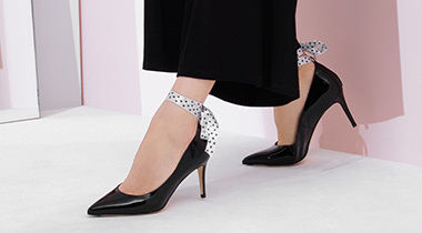 Dots Plain Leather Pin Heels With Jewels