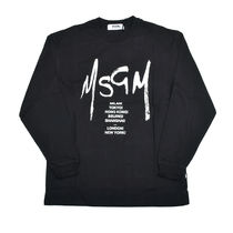 MSGM Crew Neck Pullovers Street Style Long Sleeves Cotton
