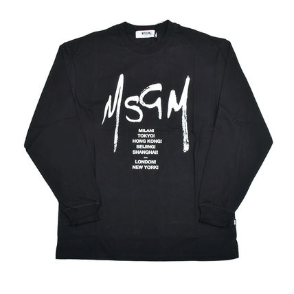 MSGM Long Sleeve Crew Neck Pullovers Street Style Long Sleeves Cotton