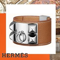 HERMES Collier de Chien Studded Leather Silver Elegant Style Bracelets