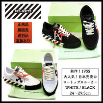 Off-White Stripes Round Toe Rubber Sole Casual Style Unisex