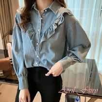 Casual Style Denim Long Sleeves Shirts & Blouses