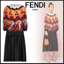 FENDI Crew Neck Silk Long Sleeves Other Animal Patterns Long