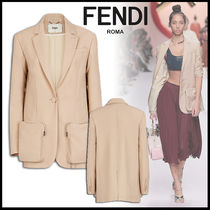 FENDI Wool Plain Medium Elegant Style Jackets