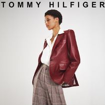 Tommy Hilfiger Short Unisex Street Style Plain Leather Bold Biker Jackets