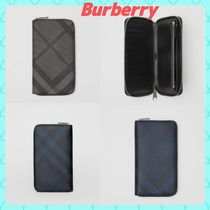 Burberry Other Check Patterns Unisex Plain PVC Clothing Long Wallets