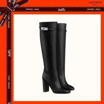 HERMES Plain Toe Plain Leather High Heel Boots