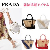 PRADA Stripes Canvas Blended Fabrics 2WAY Straw Bags