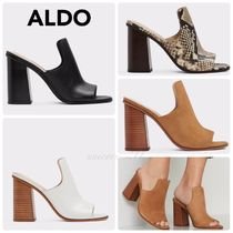 ALDO Open Toe Plain Leather Block Heels Python Elegant Style
