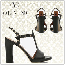 VALENTINO Casual Style Studded Plain Leather Block Heels Sandals