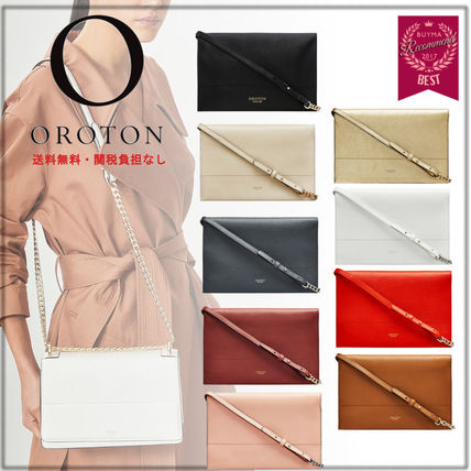 Chain Plain Leather Elegant Style Shoulder Bags