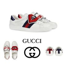 GUCCI Unisex Blended Fabrics Leather Python Sneakers