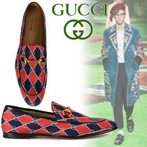 GUCCI Other Check Patterns Plain Toe Loafers Blended Fabrics