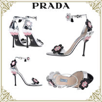 PRADA Flower Patterns Leather Pin Heels Home Party Ideas