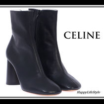 CELINE Plain Leather Elegant Style Chunky Heels