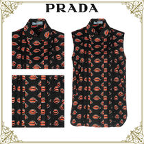 PRADA Short Sleeveless Cotton Home Party Ideas Office Style