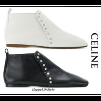 CELINE Square Toe Casual Style Studded Bi-color Plain Leather