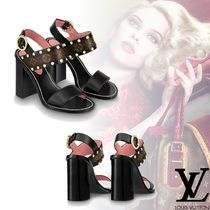 Louis Vuitton Monogram Open Toe Leather Block Heels Elegant Style