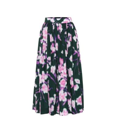 Flower Patterns Pleated Skirts Cotton Medium Elegant Style