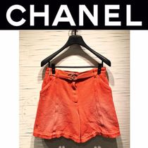 CHANEL ICON Short Casual Style Denim Street Style Plain With Jewels