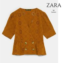 ZARA Flower Patterns Casual Style Cropped Cotton Medium