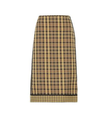 Other Plaid Patterns Casual Style Cotton Medium Midi Skirts