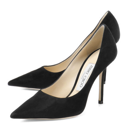 Suede Plain Pin Heels Pointed Toe Pumps & Mules