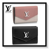 Louis Vuitton LOCKME Blended Fabrics Plain Leather Folding Wallets