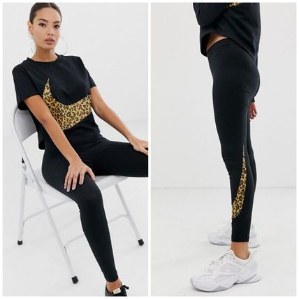 Crew Neck Leopard Patterns Casual Style Street Style