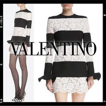VALENTINO Crew Neck Short Stripes Tight Long Sleeves Lace