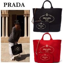 PRADA Canvas A4 2WAY Oversized Totes