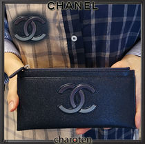CHANEL ICON Unisex Bi-color Plain Leather Pouches & Cosmetic Bags