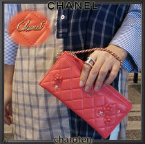 CHANEL ICON Flower Patterns Lambskin Chain Plain Pouches & Cosmetic Bags