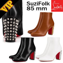 Christian Louboutin Studded Bi-color Leather Elegant Style Ankle & Booties Boots