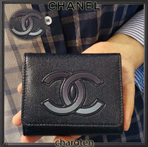 CHANEL ICON Unisex Bi-color Plain Leather Folding Wallets