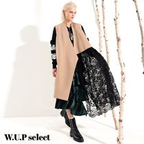 Casual Style Blended Fabrics Long Lace Vests